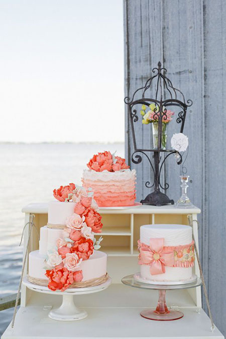 wedding cake corail