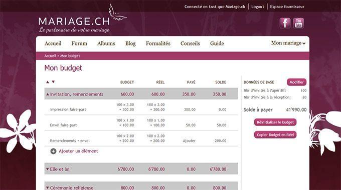 Mariage.ch vous propose une vidéo présentant l'outil Mon Budget et vous offre ainsi la possibilité de faciliter l'organisation de votre mariage.
