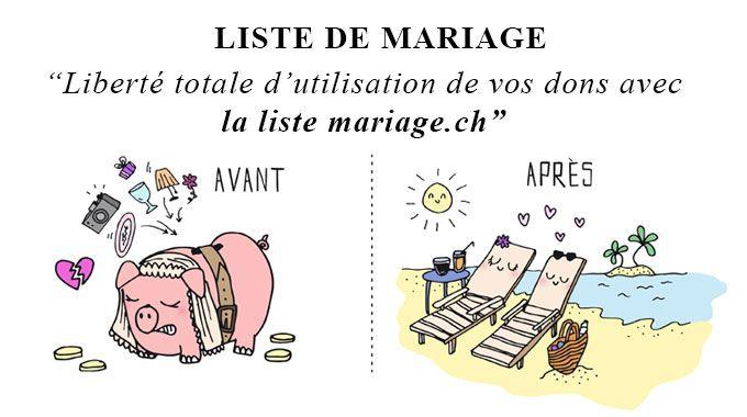 La liste de mariage est une tradition bien ancrée en Suisse, qui, à l'origine, permet aux invités de participer à la création du foyer des nouveaux époux. De nos jours, la plupart des futurs mariés habitent ensemble avant le mariage et leur ménage est déjà bien équipé.