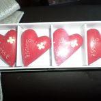 """coeur """"suisse"""" pour déco. J'ai plusieurs boites de 4. Chaque boite est vendue CHF 5"""