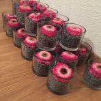 28 pots en verre (10 cm de diamètre) avec gravier et pipette à fleur